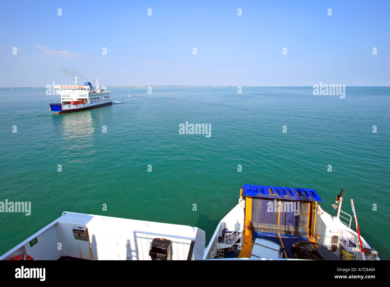 View from Car Ferry crossing British Solent waterway on summer's day Stock Photo