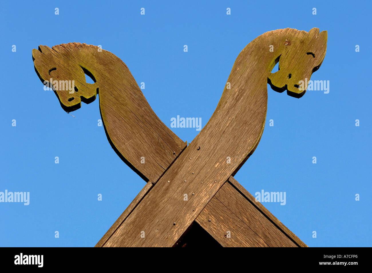 Crossed horse heads - Stock Image