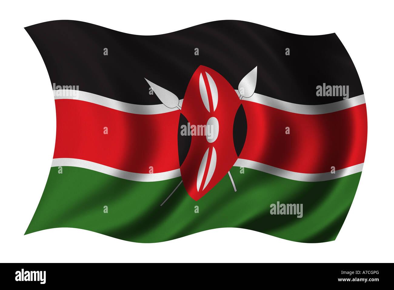 Flag of Kenya Stock Photo