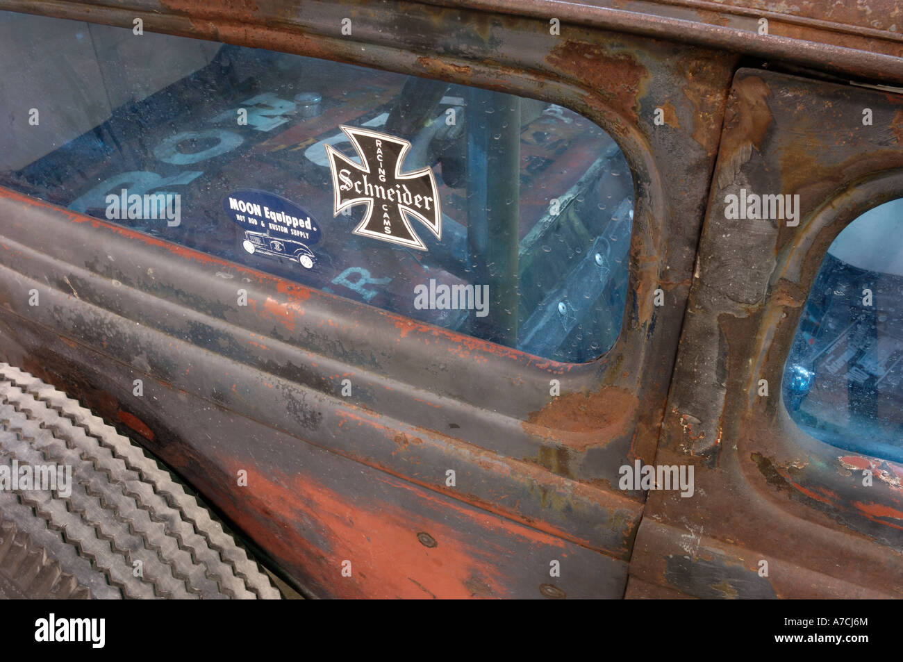 1932 Ford rear window detail - Stock Image
