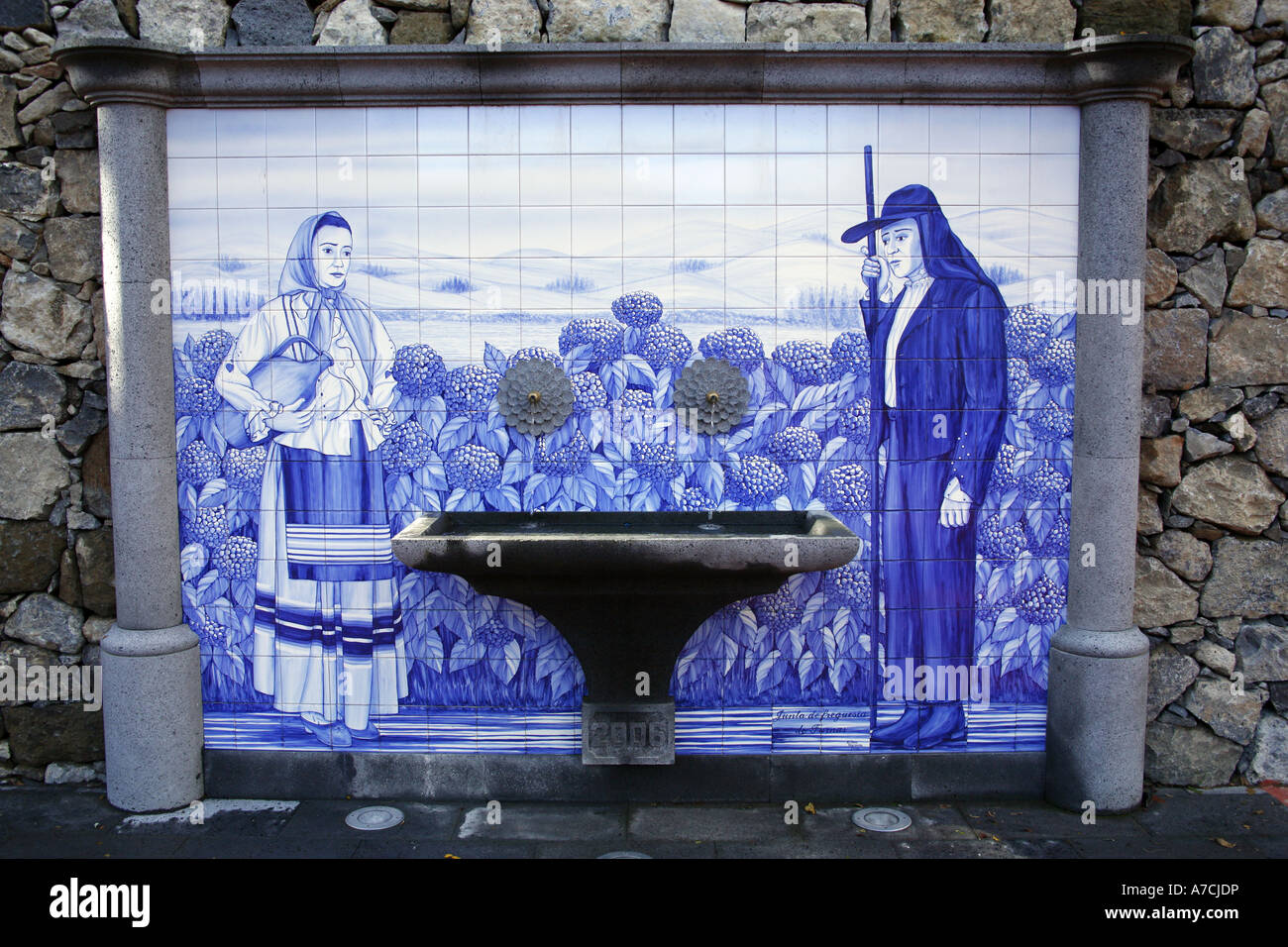 Panel of blue ceramic tiles in the village of Furnas. Azores islands ...