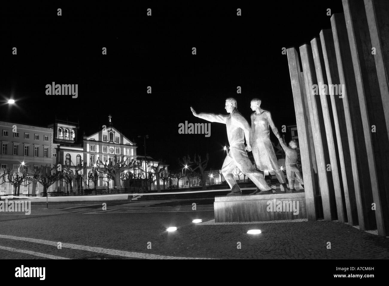Night photo of the Emigrant Monument in downtown Ponta Delgada, Azores islands, Portugal - Stock Image