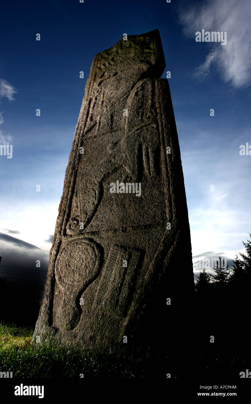 The Pictish standing stone known as the Maiden Stone near Inverurie, Aberdeenshire, Scotland UK Stock Photo