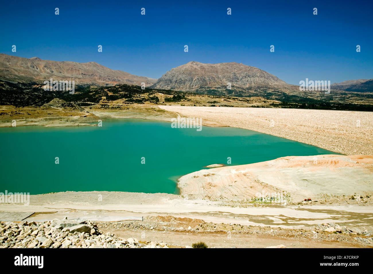 Dam and resevoir in the Bey Mountains National Park, South Western Turkey - Stock Image