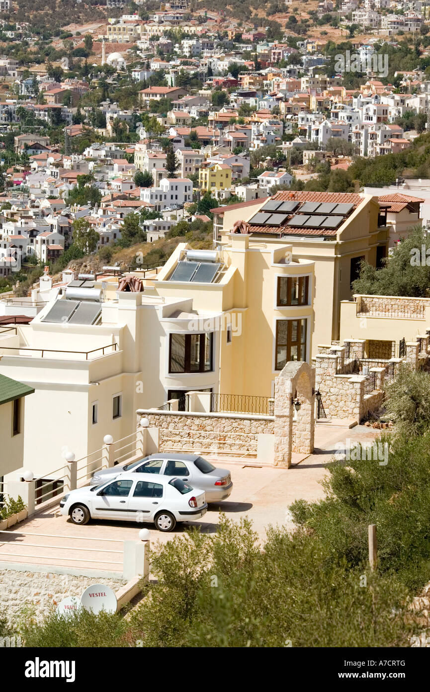 apartments with solar panels Kalkan southern Turkey on Mediterranean coast Stock Photo