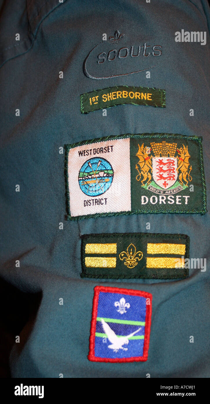Arm full of badges - Stock Image
