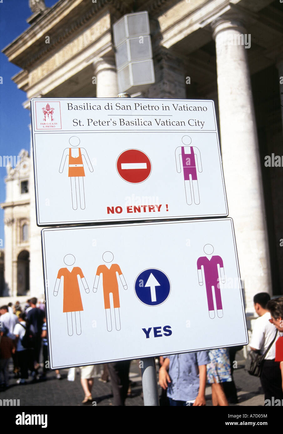 Rome St Peter S Dress Code Sign Stock Photo 11800831 Alamy
