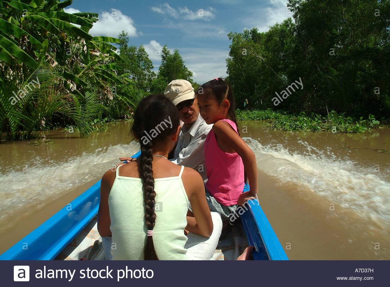 Boat On Backwaters, Kien Giang Province - Stock Image