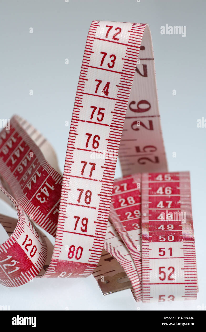 Measuring tape, metric tape measure for needlework, sewing work etc.. Stock Photo