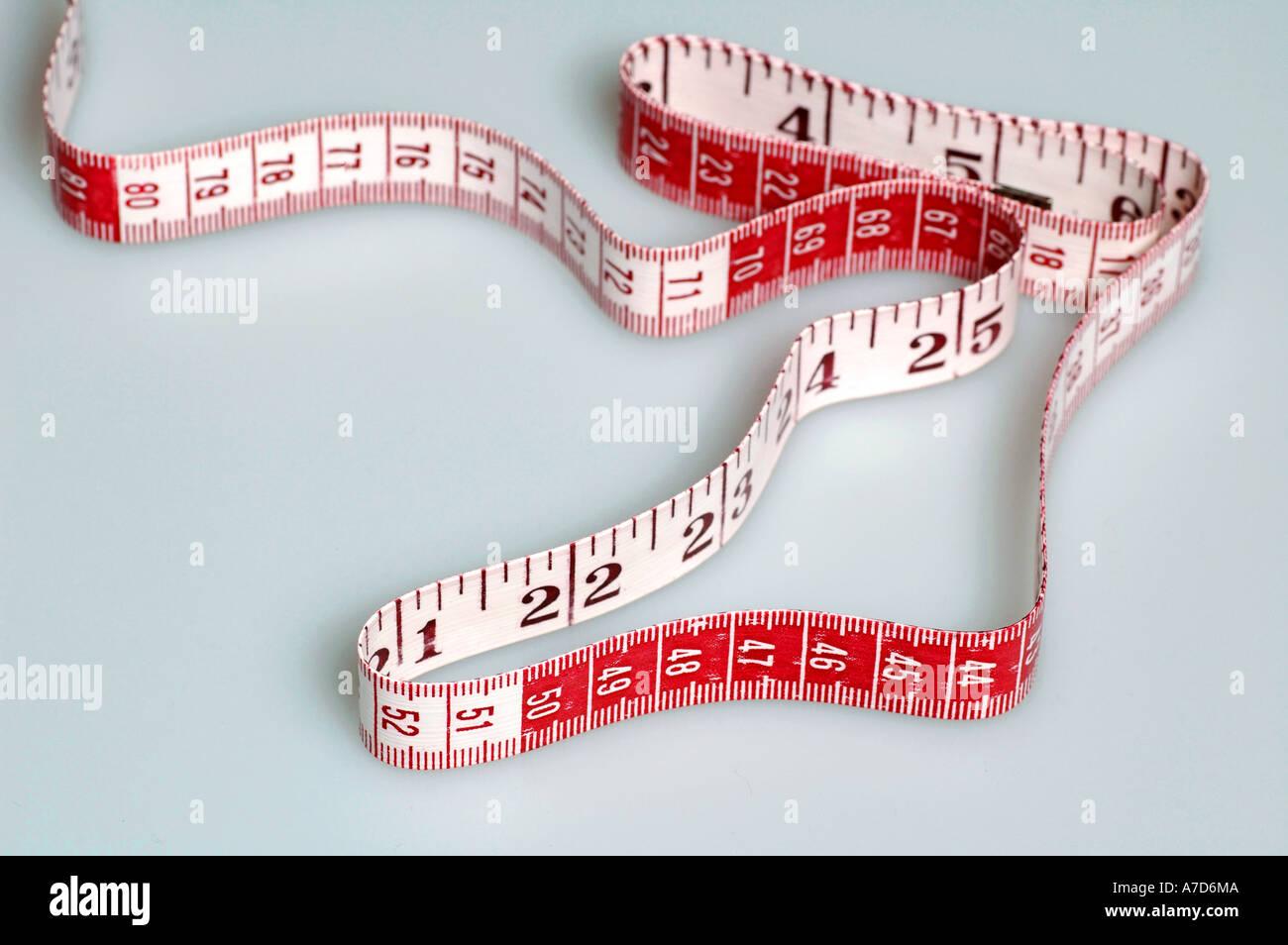 Measuring tape, metric tape measure for needlework, sewing work etc.. Stock Photo