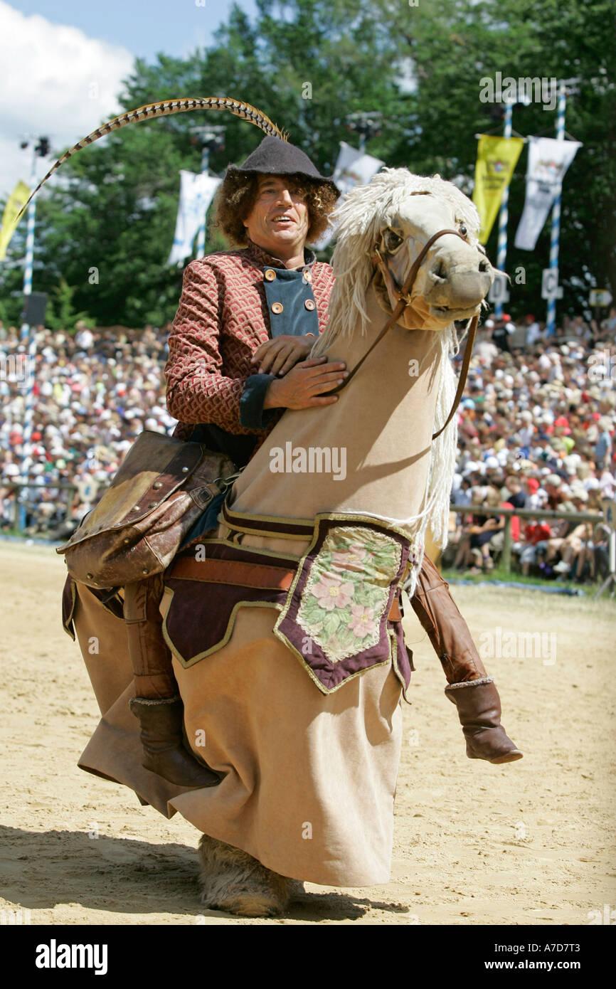 Kaltenberg, GER, 03. July 2005 - A yard fool at knight plays in Kaltenberg nearby Munich. - Stock Image