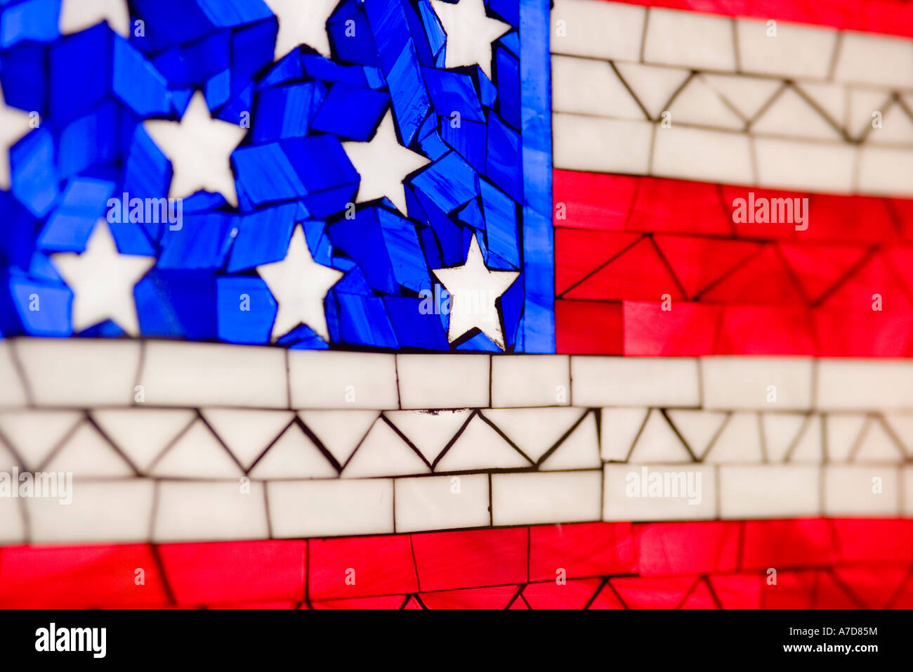 Back lit Tiffany stained glass window with American flag decor. Chicago USA. Detail. - Stock Image