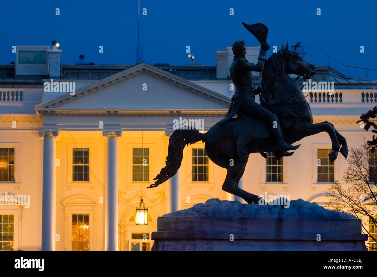 White House Washington DC night. The North Portico and the equestrian statue of Andrew Jackson in Lafayette Square. - Stock Image