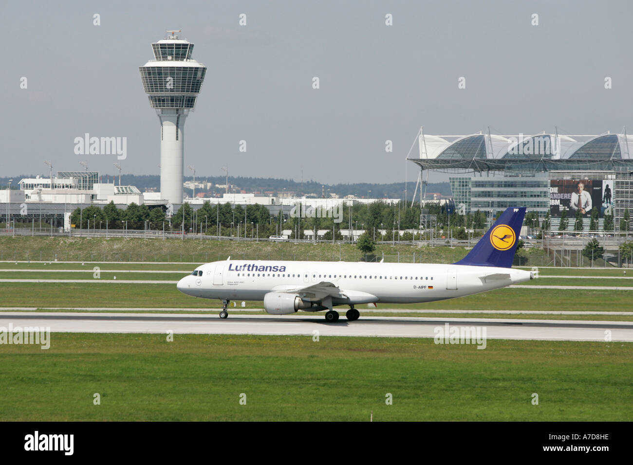 Munich, GER, 11. Aug. 2005 - The Lufthansa Airbus DEGGENDORF of type A320-200 taxies to the lift of position on Munich Airport. - Stock Image