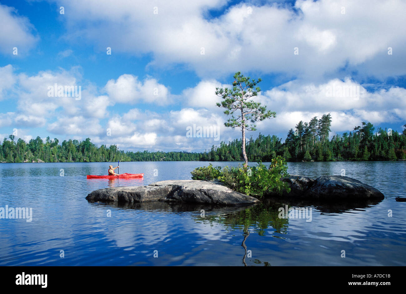 Kayaking in Boundary Waters Canoe Area Wilderness Minnesota MR - Stock Image
