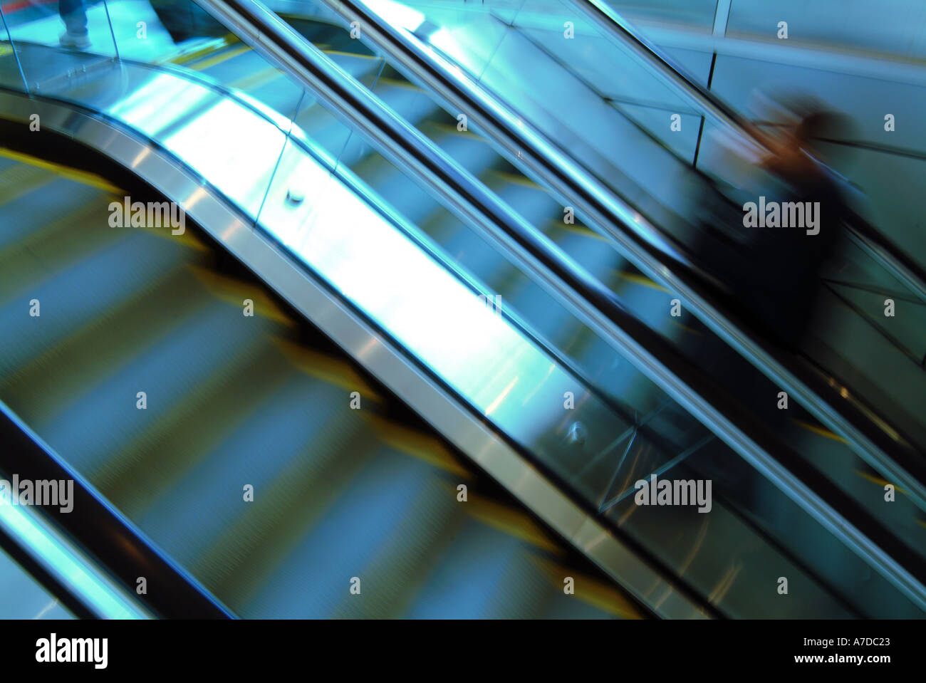 Escalator at the Minneapolis St Paul International airport - Stock Image