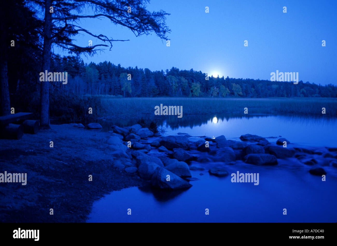 Moonrise over Lake Itasca and the start of the Mississippi River in Itasca State Park Minnesota - Stock Image