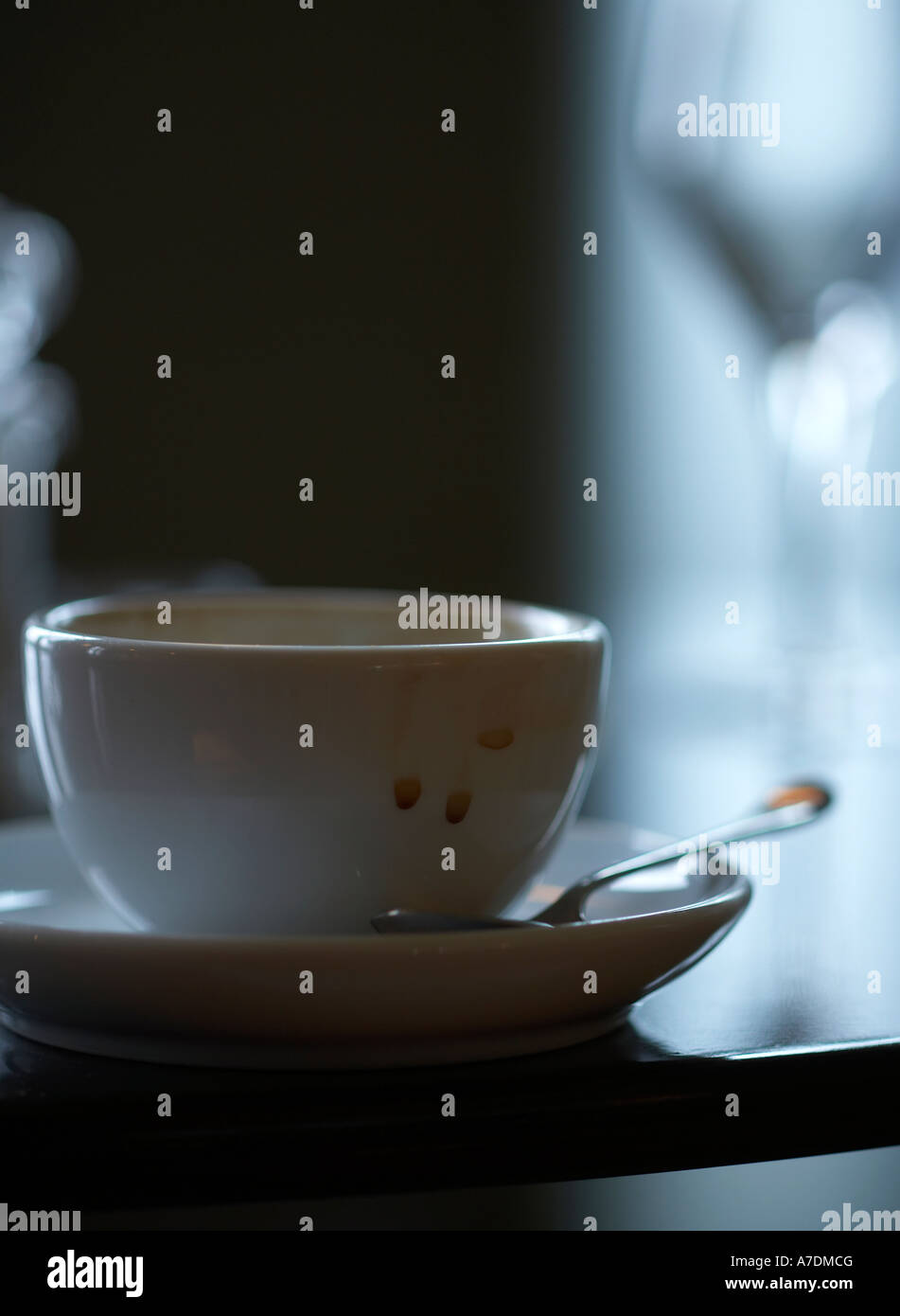 Coffee cup with stains on from being drunk - Stock Image