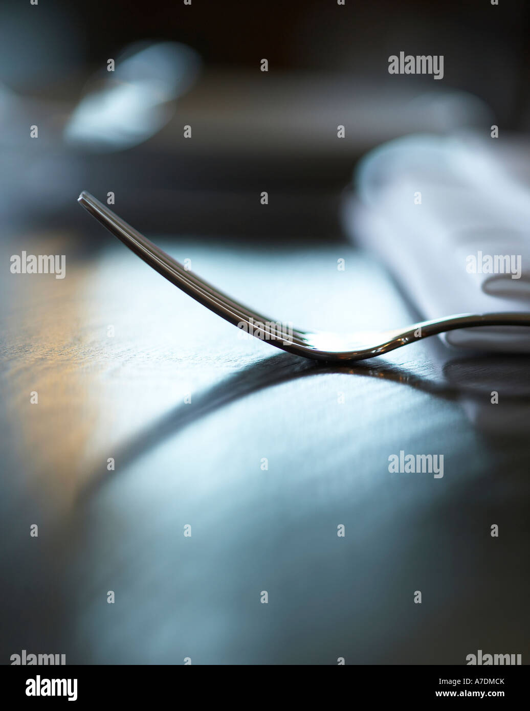 Fork in a restaurant - Stock Image