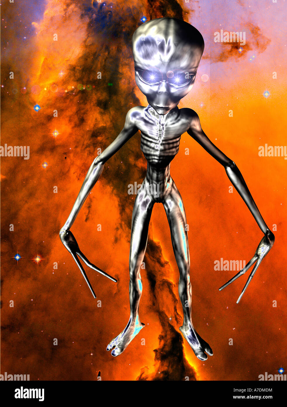 futuristic 3D computer generated bionic male alien head on background of digital NASA view of sky - Stock Image
