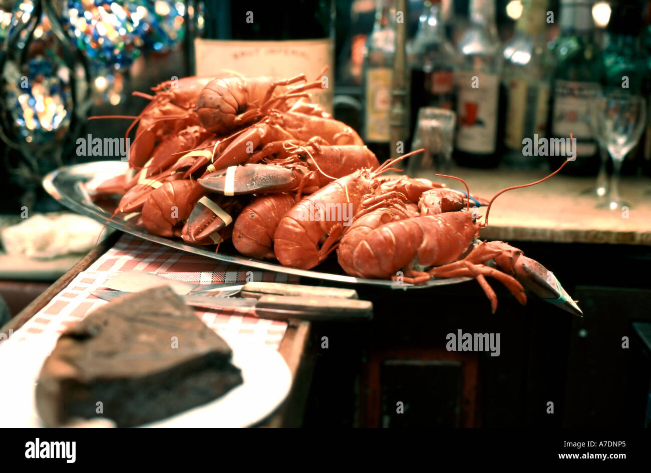 Paris France, Cooked Food on a Plate Lobsters from Brittany, French Restaurant 'Aux Crus Bourgogne' Seafood, - Stock Image