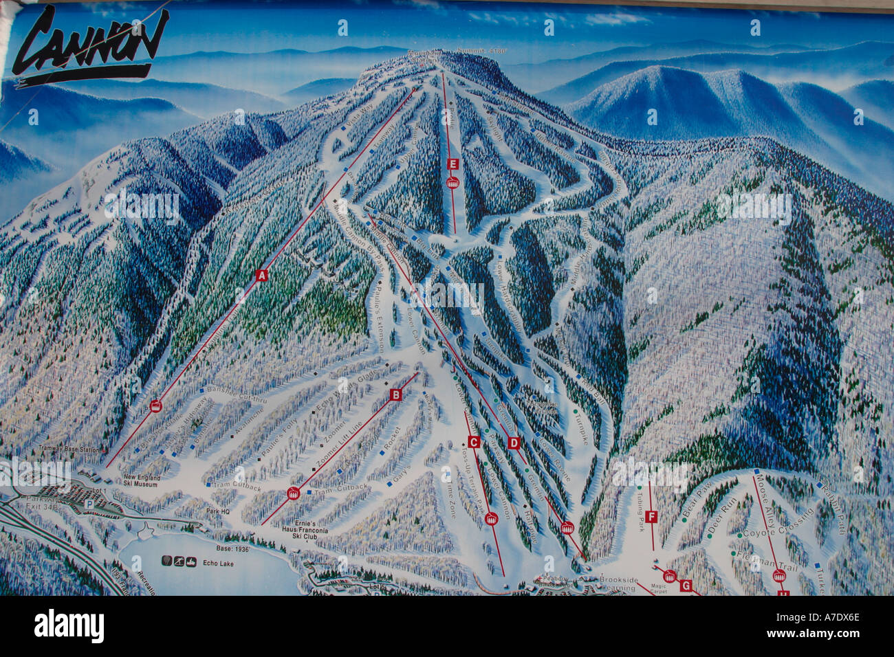 Trail Map at Cannon Ski Area Franconia Notch State Park Franconia NH on