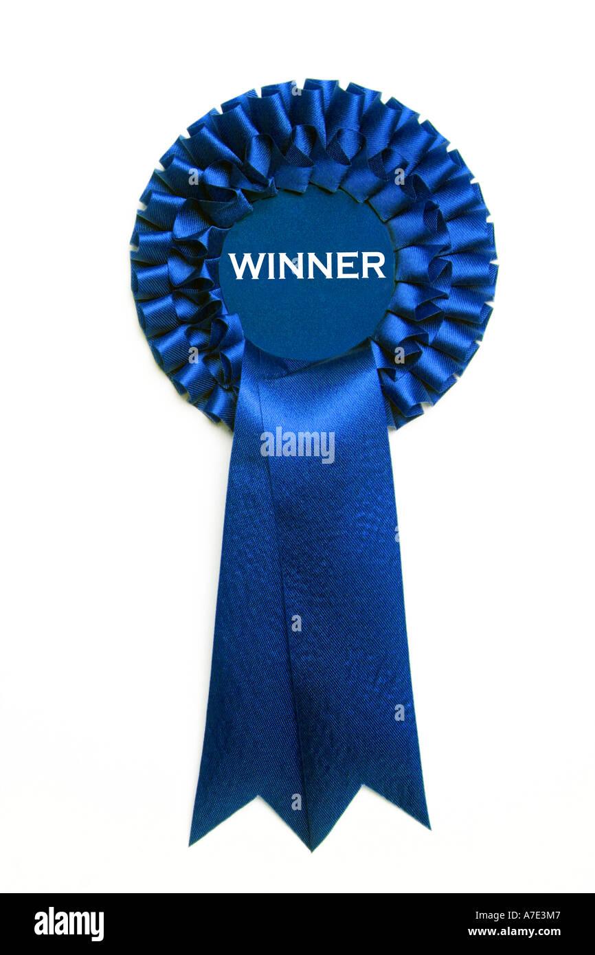 Blue winner rosette - Stock Image