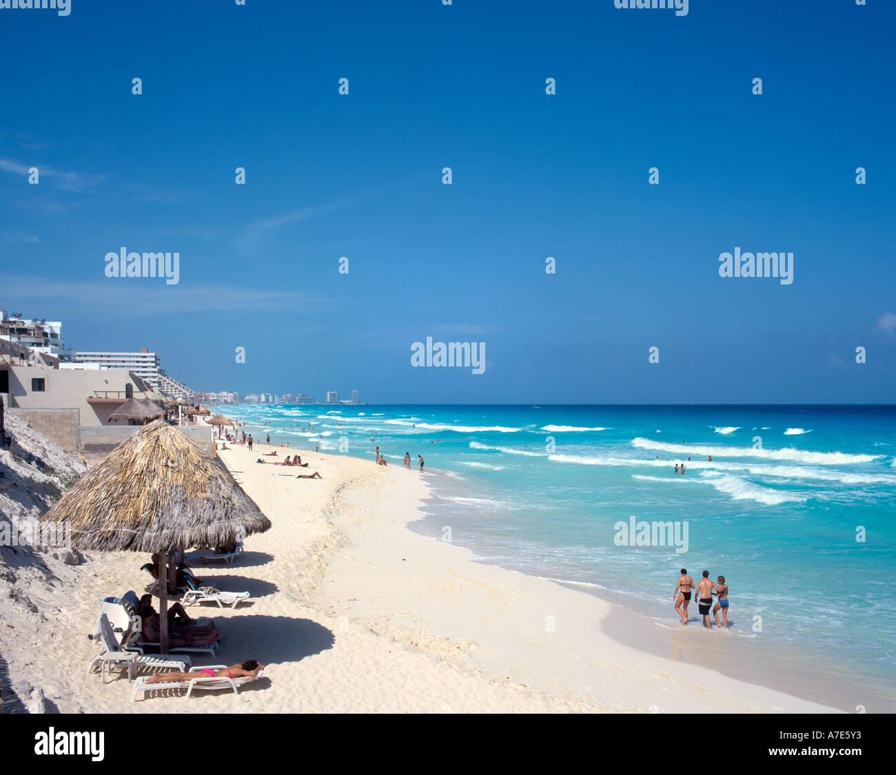Beach near Hotel Tucancun, Cancun, Quintana Roo, Yucatan Peninsula, Mexico - Stock Image