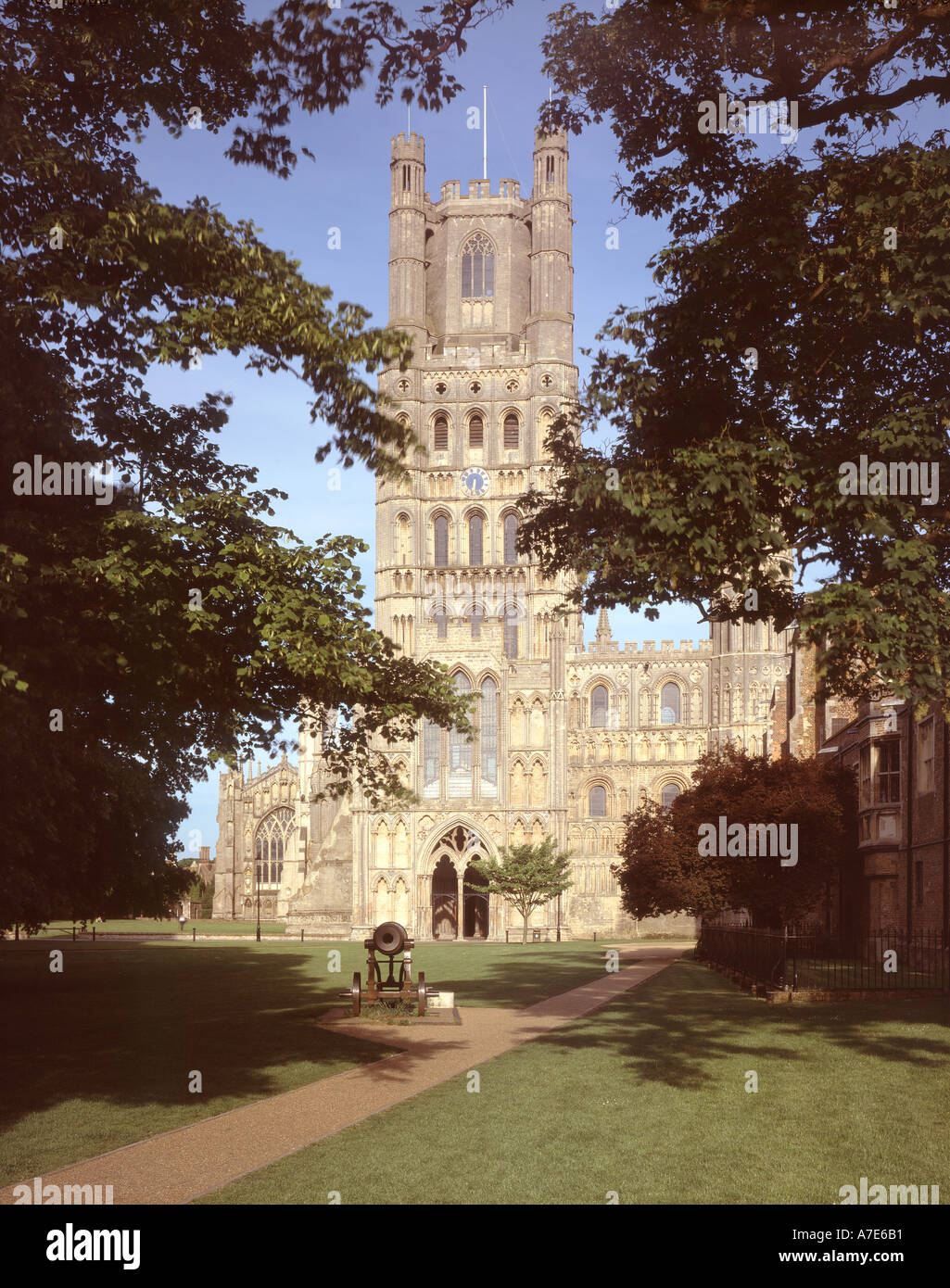 Ely Cathedral from west Ely Cambridgeshire East Anglia England UK - Stock Image