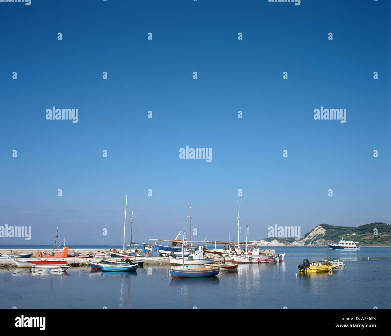 Fishing harbour, Sidari, Corfu (Kerkyra), Ionian Islands, Greece - Stock Image
