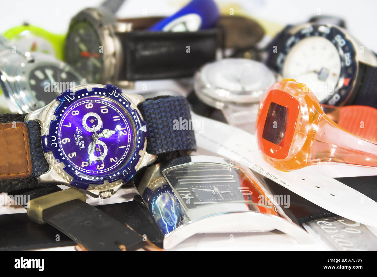 Pile of various wristwatches - Stock Image
