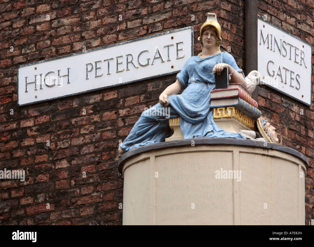 Statue of Minerva on the corner of High Petergate and Minster Gates York North Yorkshire England - Stock Image