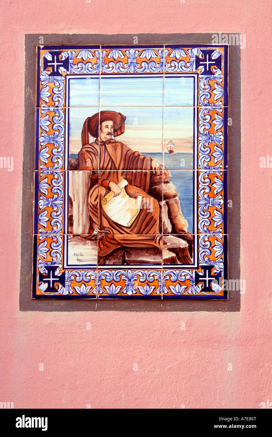 Azulejo wall tile picturing Henry the Navigator Sagres Algarve Portugal Europe - Stock Image
