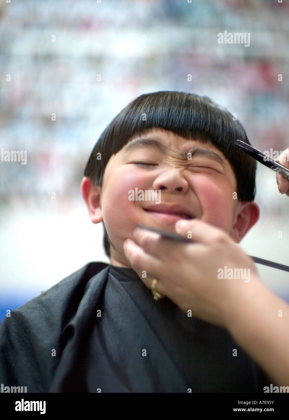 Boy reluctantly gets a haircut. - Stock Image