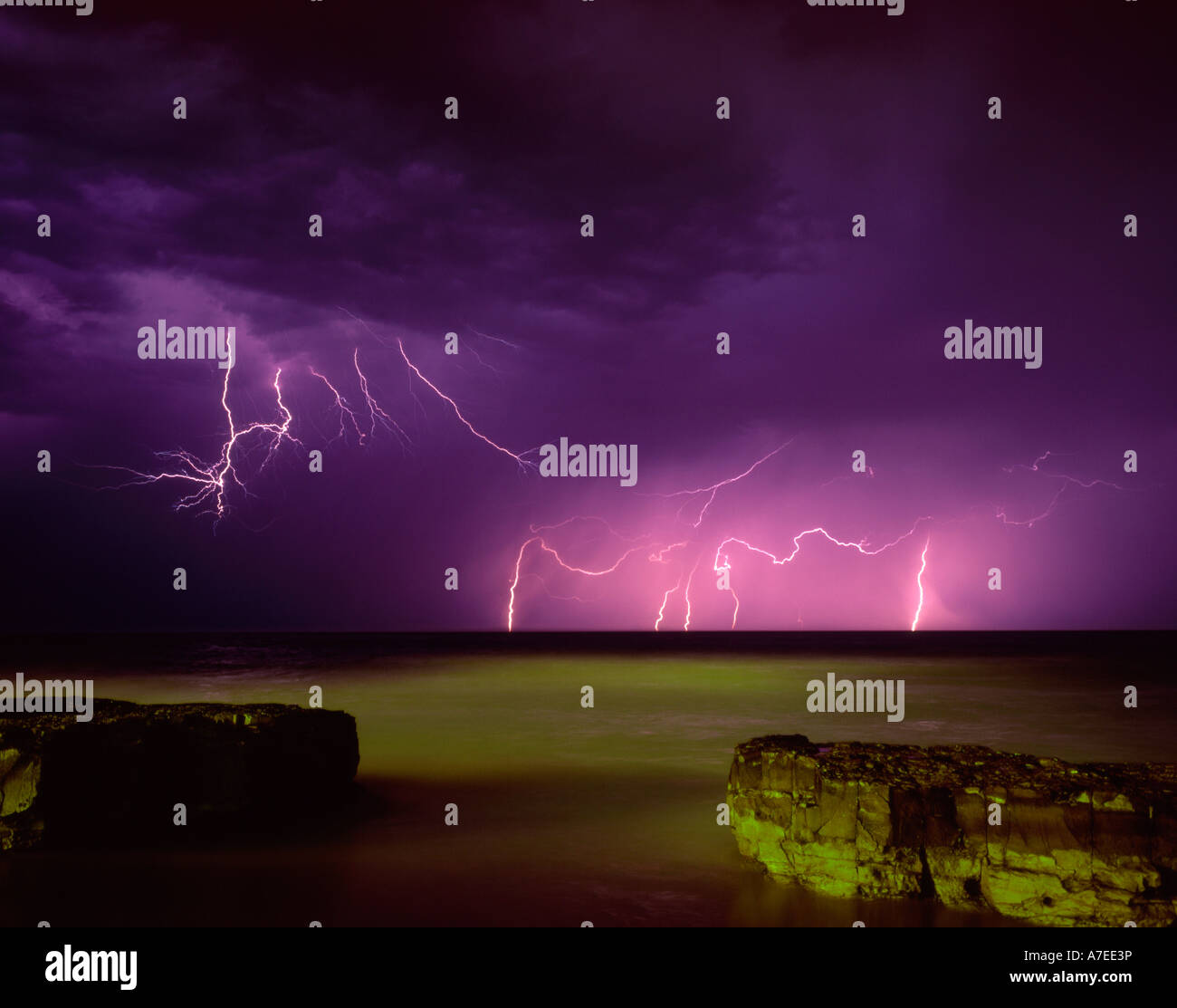 Armageddon, A wildly coloured thunder storm. - Stock Image