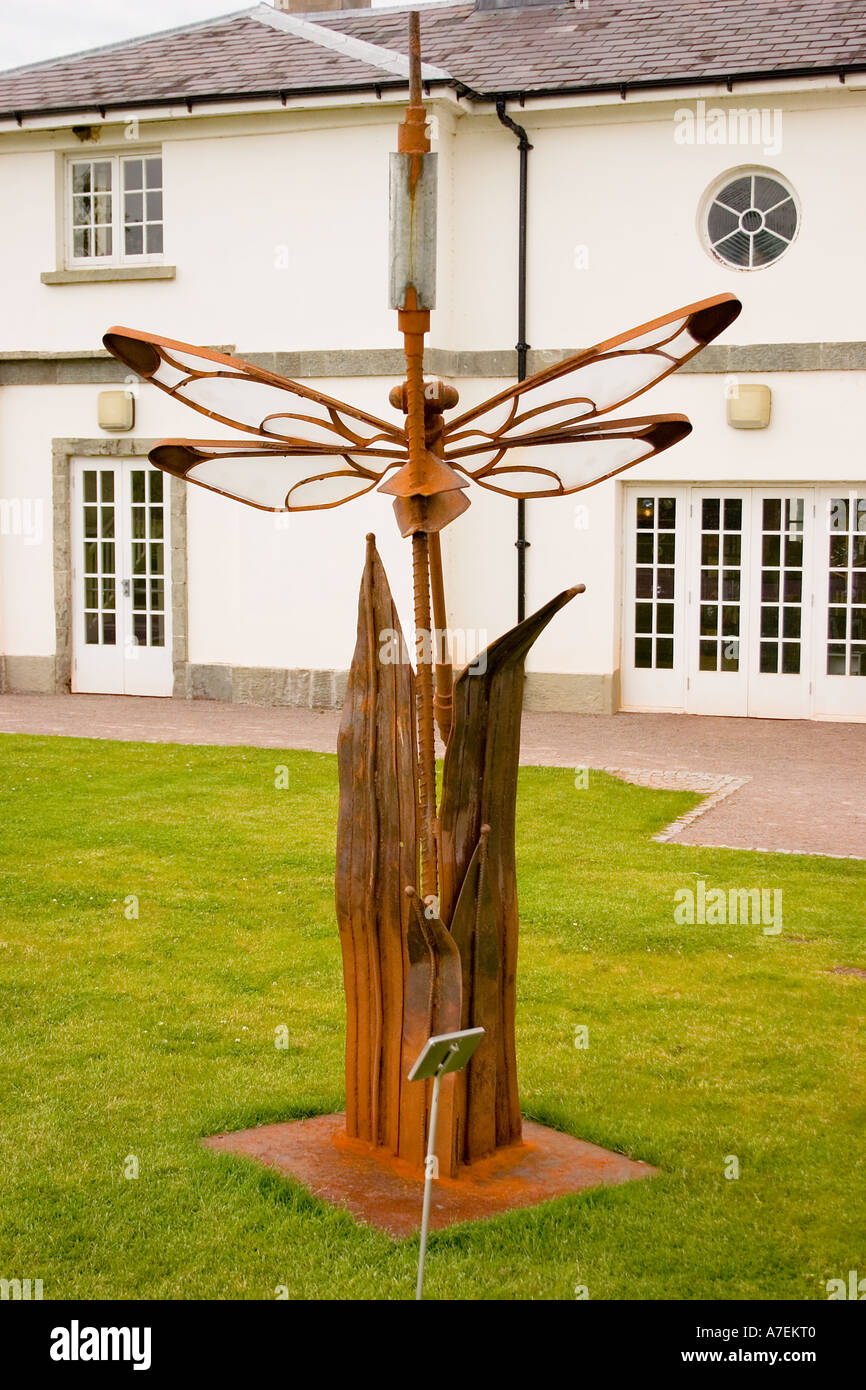 Metal dragonfly sculpture with perspex wings at Wales National Botanical Gardens Llanarthne Dyfed S Wales UK Stock Photo