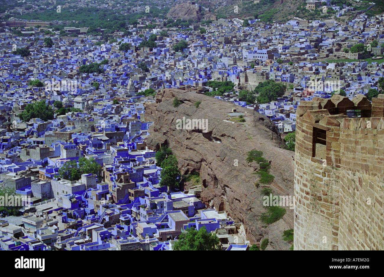 aerial view of the blue city Jodhpur from mehrangarh fort rajasthan india Stock Photo