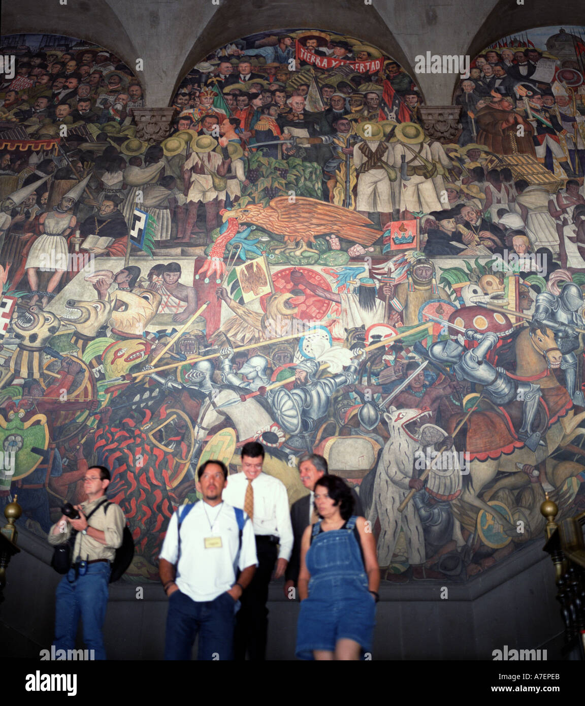 Mexico, From the Conquest Until 1930, Central Arch, 1929-1935, by Diego Rivera, Mexico's Presidential Palace - Stock Image