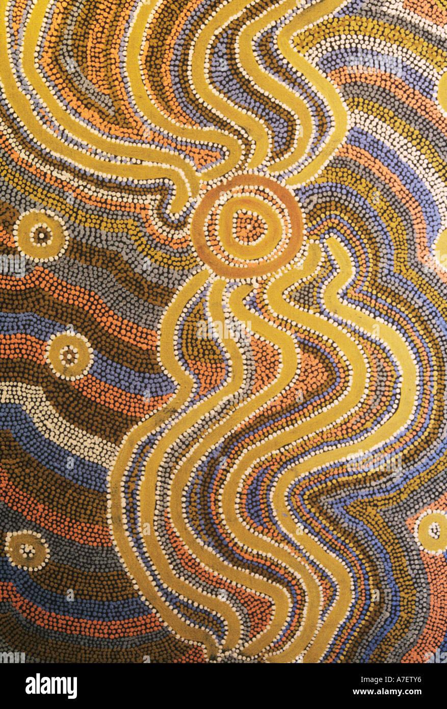 Aboriginal Dreamtime Painting Central Australia Stock Photo