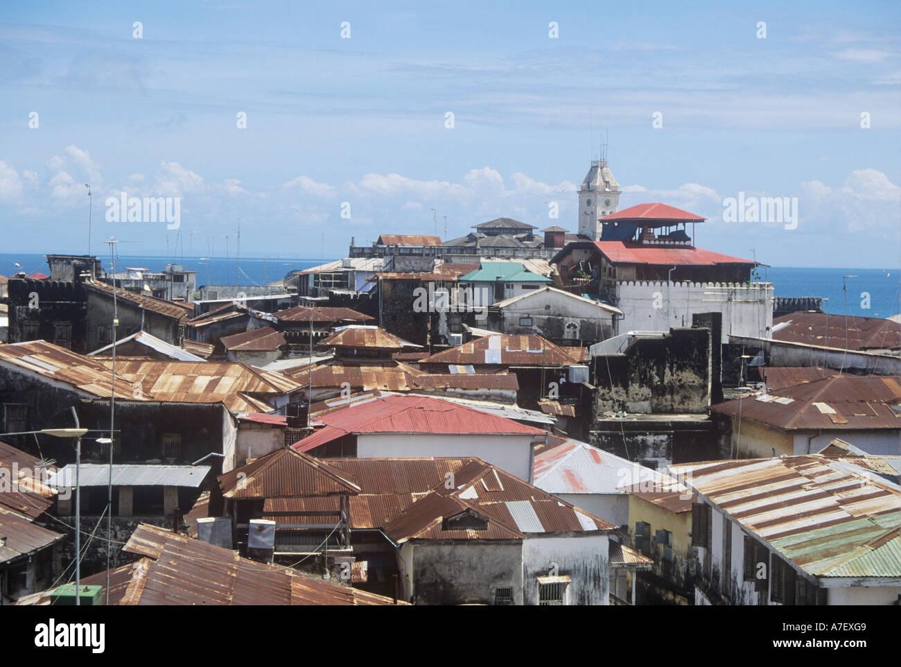 Roof top view of Stone Town, UN world heritage list, Zanzibar - Stock Image