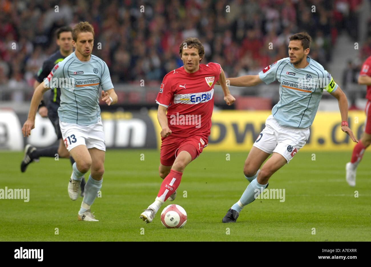 Milorad PEKOVIC (left) and Manuel FRIEDRICH (right) FSV Mainz 05 vs. Benjamin LAUTH VfB Stuttgart (middle) - Stock Image