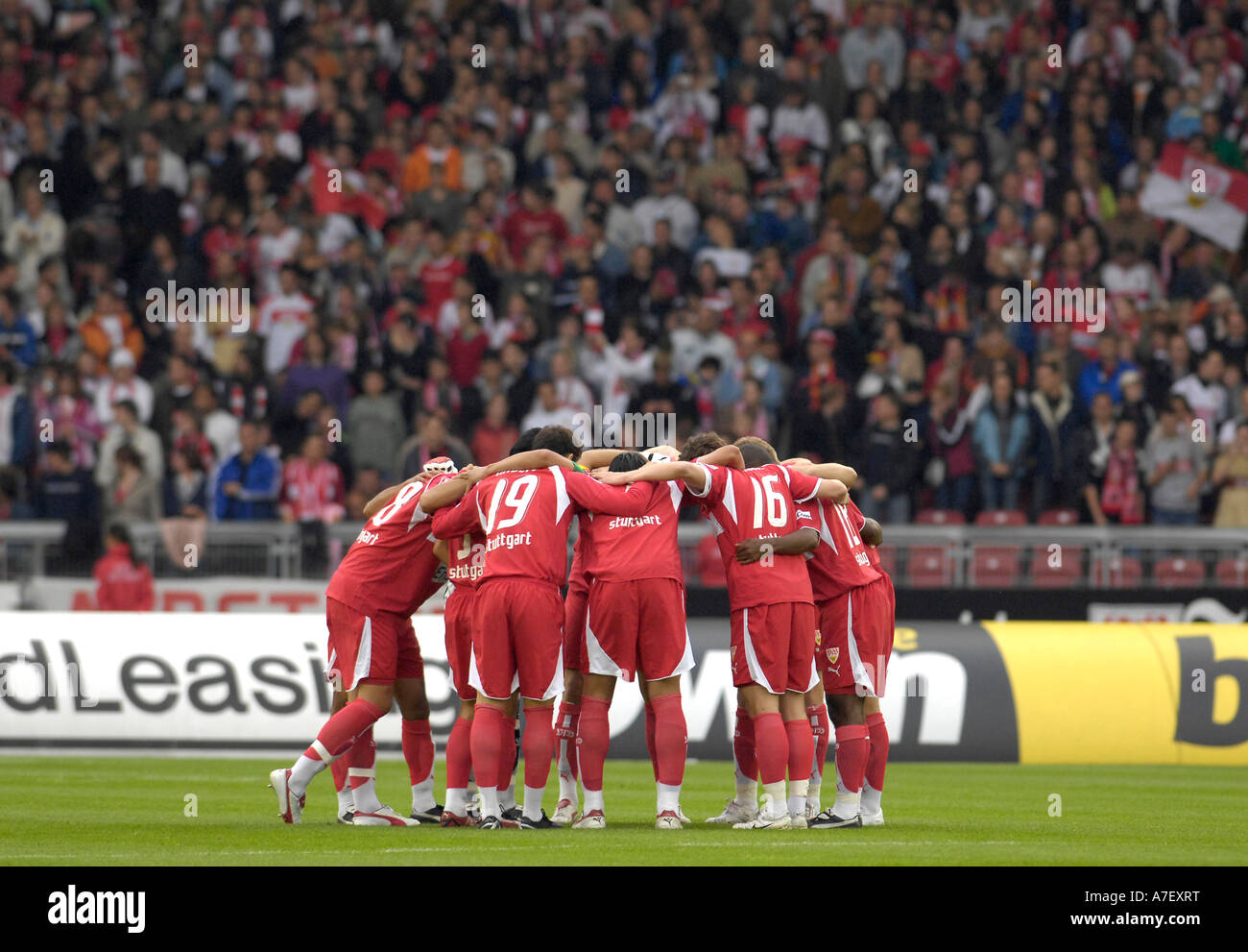 VfB Stuttgart tuning in for the match - Stock Image