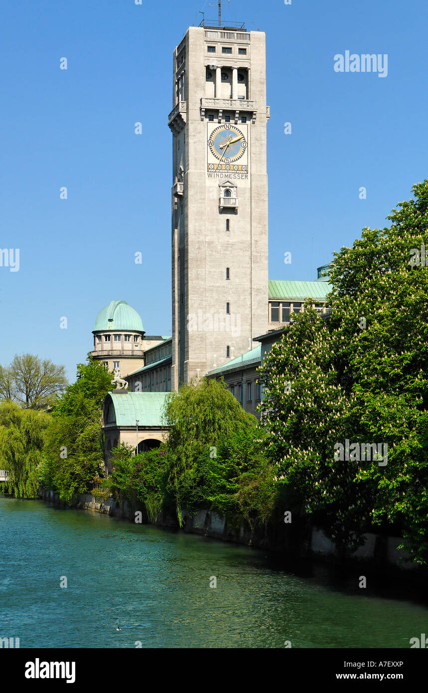 Deutsches Museum with Isar river, Munich, Bavaria, Germany - Stock Image
