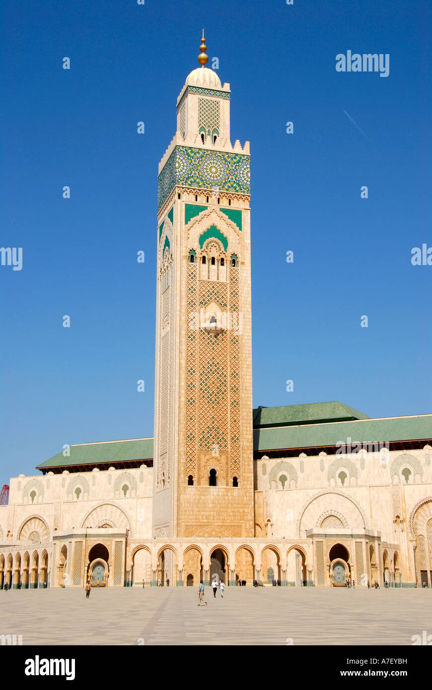 Minaret of mosque Hassan II Casablanca Morocco Stock Photo
