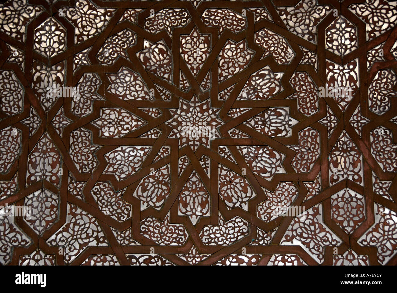 Fine arts decoration of a wall in mosque Hassan II Casablanca Morocco Stock Photo