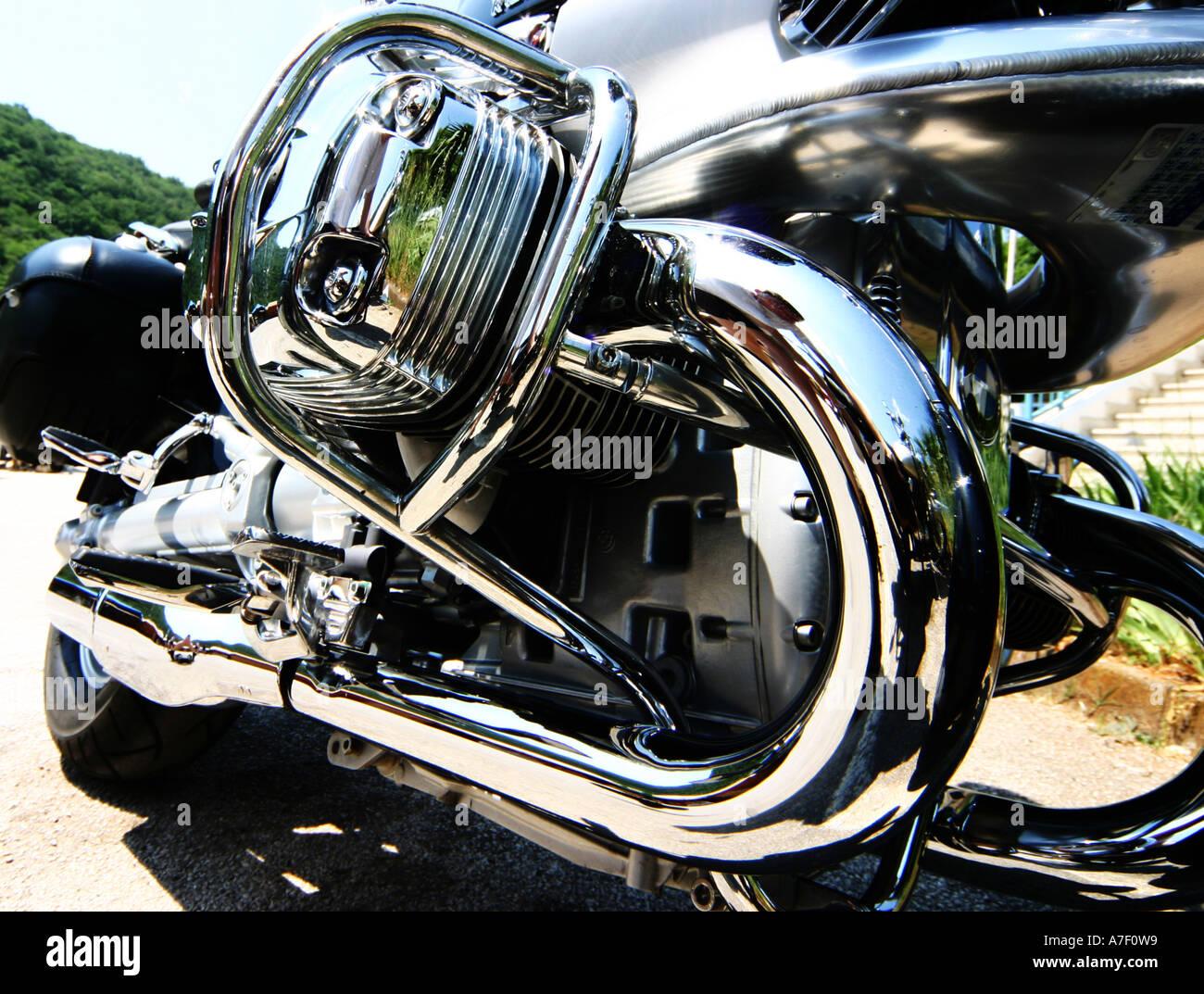 Closeup of polished engine on BMW motorcycle Stock Photo