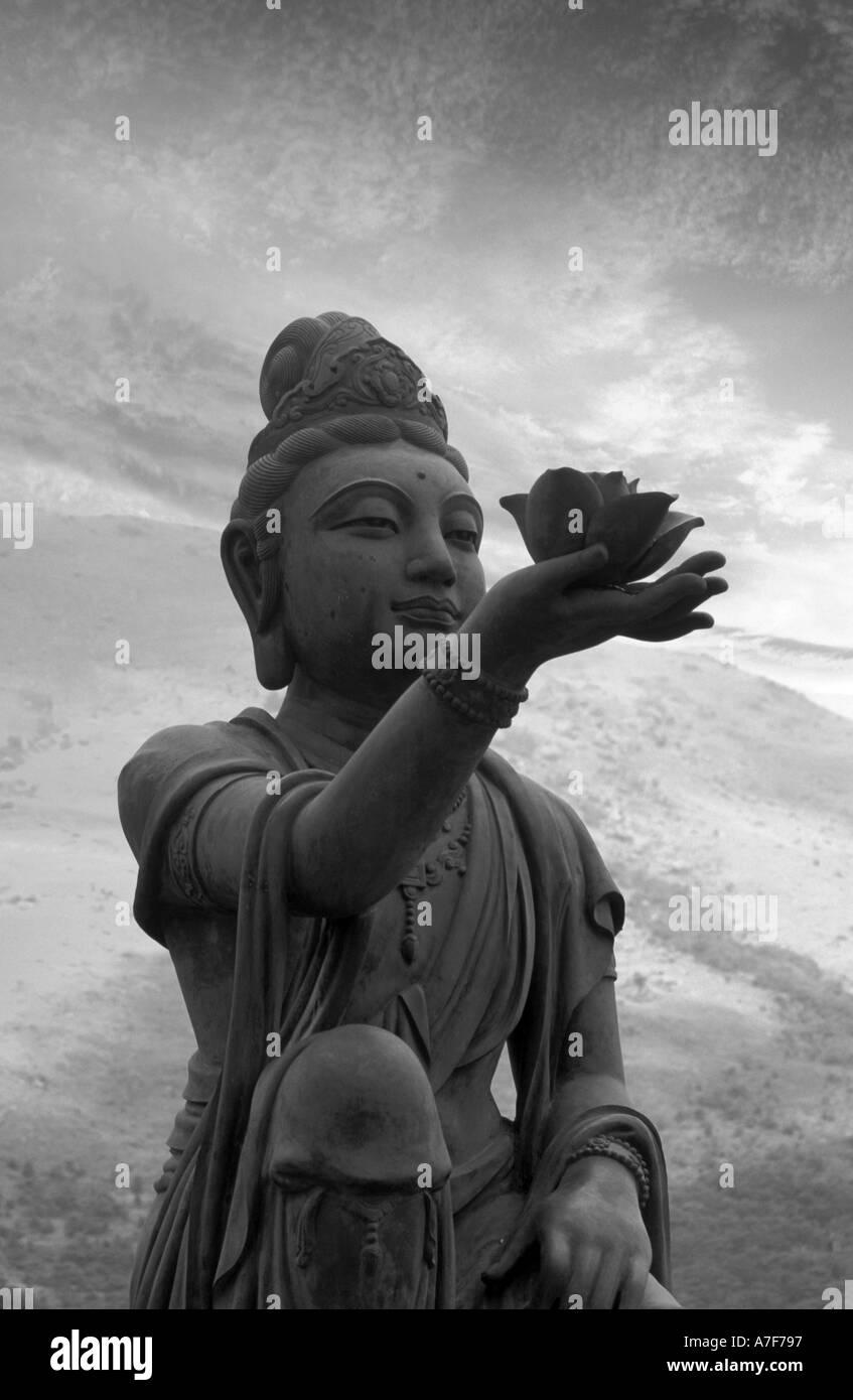 An Offering to Buddha Lantau Island Hong Kong China - Stock Image