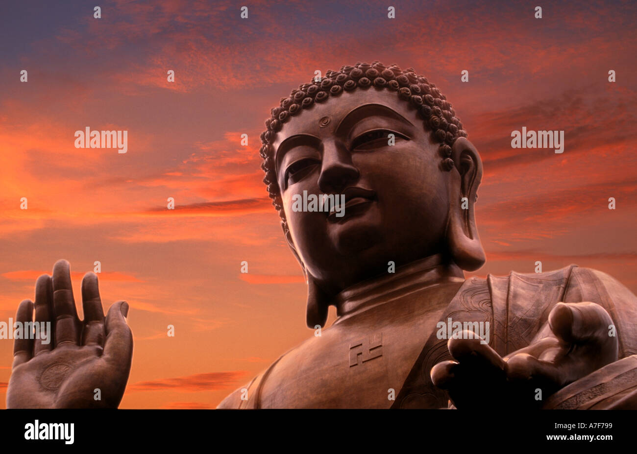 Buddha statue on the island of Lantau Hong Kong China - Stock Image