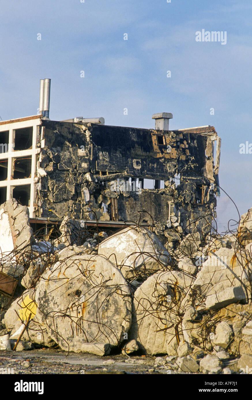 Detroit Michigan Demolition of General Motors Fleetwood plant - Stock Image