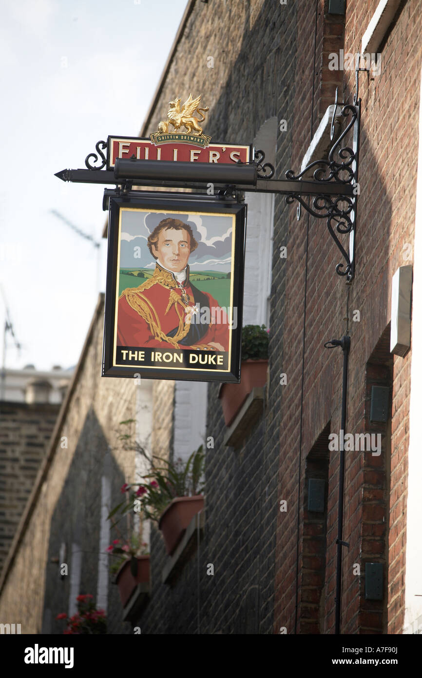 The Iron Duke of Wellington public house pub sign in Mayfair London W1 England - Stock Image